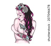 old school tattoos flower... | Shutterstock .eps vector #207046678