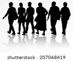 people silhouettes | Shutterstock .eps vector #207068419