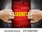 hand opening a wooden door and... | Shutterstock . vector #207086980
