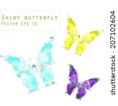 vector crystal butterfly three   Shutterstock .eps vector #207102604