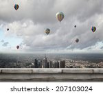 colorful aerostats flying in... | Shutterstock . vector #207103024