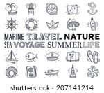 marine and vacation icon set.... | Shutterstock .eps vector #207141214