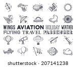 aviation and travel icon set.... | Shutterstock .eps vector #207141238