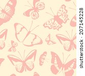 butterfly background pink on... | Shutterstock .eps vector #207145228