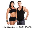 strong man and a woman posing... | Shutterstock . vector #207155608