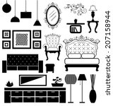 antique and modern furniture... | Shutterstock .eps vector #207158944