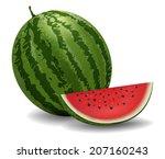 closeup of watermelon  whole... | Shutterstock .eps vector #207160243