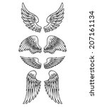 four set of wings | Shutterstock .eps vector #207161134