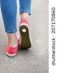foot stuck into chewing gum on... | Shutterstock . vector #207170860
