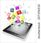 tablet pc broken glass screen.... | Shutterstock . vector #207196510