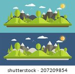 natural landscapes in a flat... | Shutterstock .eps vector #207209854