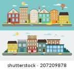 town streets in a flat design ... | Shutterstock .eps vector #207209878
