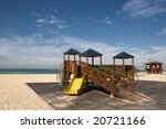 child playground  on the beach - stock photo