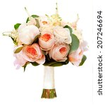 white wedding bouquet with... | Shutterstock . vector #207246694