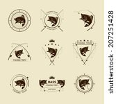 vector fishing symbol set | Shutterstock .eps vector #207251428