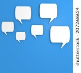 blank speech bubbles on a blue... | Shutterstock . vector #207268624