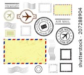 set of postal stamps and...   Shutterstock .eps vector #207288904