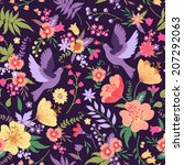 cute vector seamless pattern... | Shutterstock .eps vector #207292063
