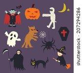 halloween doodle  hand drawn... | Shutterstock .eps vector #207294286
