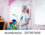 medical staff cleans the... | Shutterstock . vector #207307600