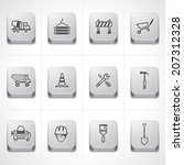 Construction icon set on button - stock vector