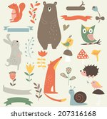 forest set with cute animals ... | Shutterstock .eps vector #207316168