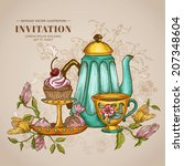vintage menu or invitation card ... | Shutterstock .eps vector #207348604