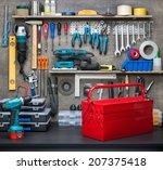 workshop scene.  tools on the... | Shutterstock . vector #207375418