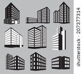 set of nine building icons ... | Shutterstock .eps vector #207377314