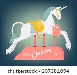 vector retro unicorn coin... | Shutterstock .eps vector #207381094