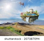dragon island with a medieval... | Shutterstock . vector #207387094