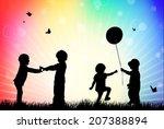 children silhouettes in the... | Shutterstock .eps vector #207388894
