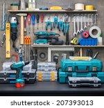 Workshop scene.  tools on the...
