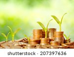 young tree growing on coins... | Shutterstock . vector #207397636