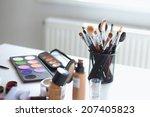 makeup brush and cosmetics  | Shutterstock . vector #207405823