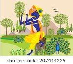lord krishna flute 3 | Shutterstock .eps vector #207414229