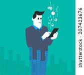 businessman in overlay city...   Shutterstock .eps vector #207423676