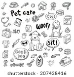 Stock vector pet icons doodle set vector illustration 207428416