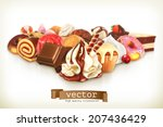 sweet dessert with chocolate ... | Shutterstock .eps vector #207436429
