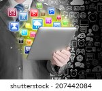 business man use tablet pc with ...   Shutterstock . vector #207442084