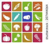 colorful vegetable icon set | Shutterstock .eps vector #207444064