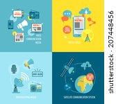 radio newspaper live tv concept ... | Shutterstock .eps vector #207448456