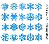 set of blue snowflakes various... | Shutterstock . vector #207455470