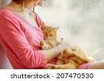 Stock photo  cat with red fur 207470530