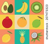 fruit collection   vector... | Shutterstock .eps vector #207473323