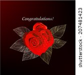 card with stylized rose.... | Shutterstock .eps vector #207481423