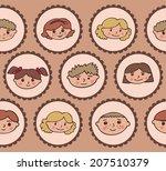 pattern with children's smiles | Shutterstock .eps vector #207510379