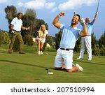 happy golfer kneeling at hole... | Shutterstock . vector #207510994