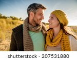 walking sunset couple on the... | Shutterstock . vector #207531880