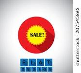 flat design icon of sale  ...